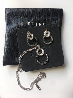 Jette Joop Boucles d'oreilles en argent argenté-gris anthracite