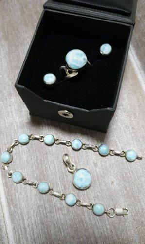 Bracelet en argent bleu clair-bleu azur