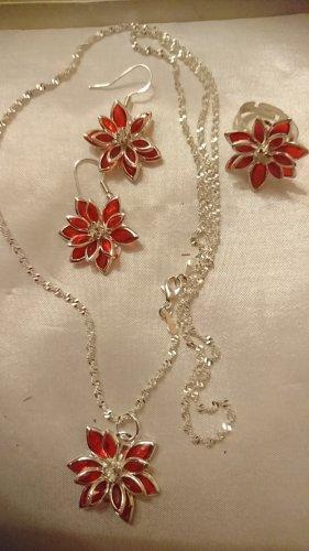 Schmuckset  Lotus Blume , rot mit Strass