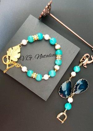 Pareloorbellen goud-lichtblauw