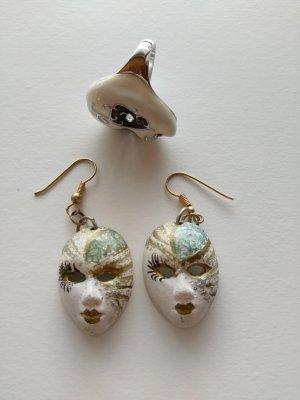 Schmuckset Ohrringe & Ring venezianische Masken