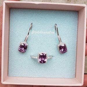 Schmuckset Ring und Ohrringe mit lila violett Amethyst Zirkonia 925 Sterling Silber gestempelt / Größe 54