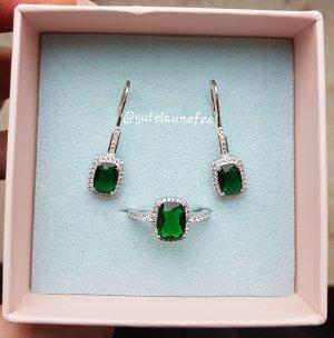 Schmuckset Ring und Ohrringe mit Smaragd Zirkonia 925 Sterling Silber gestempelt grün / Grösse 54
