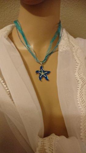 Schmuckset Set Halskette und Ohrringe Seestern türkies mit Strass emailliert .