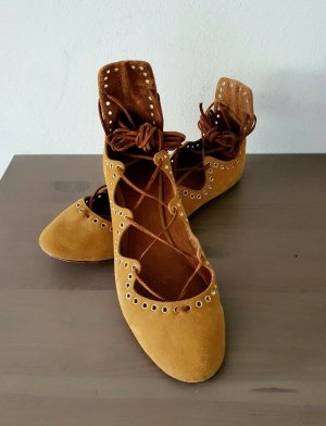 Isabel Marant Strappy Ballerinas cognac-coloured leather