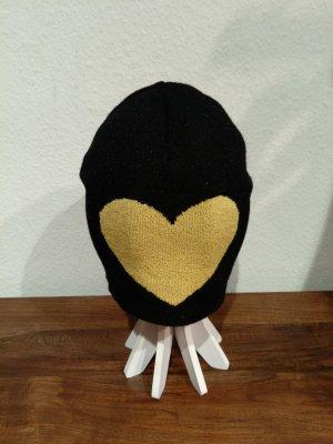 Moschino Czapka typu beanie czarny-żółty Wiskoza