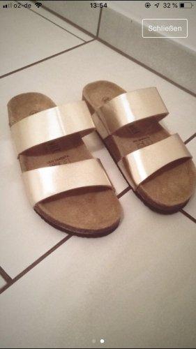 Zara Sandalias para uso en exteriores marrón claro-color oro