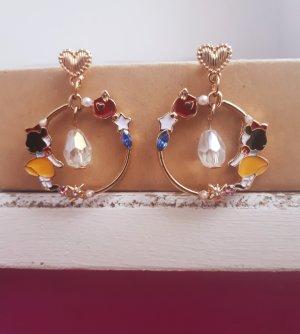 Schneewittchen Vintage Emaille Ohrringe in Gold