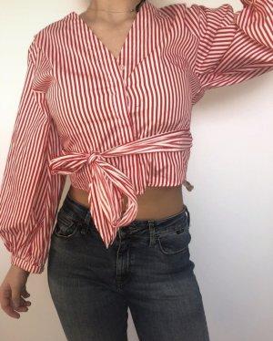 H&M Blouse portefeuille rouge-blanc