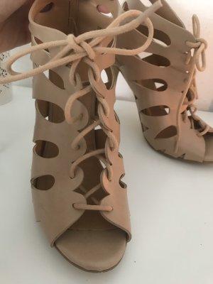 Schnür high heels beige