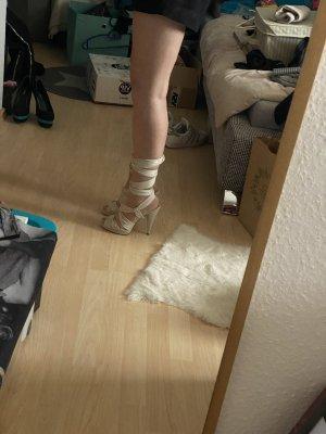 Schnür Pumps Sandaletten Gr. 37 nude