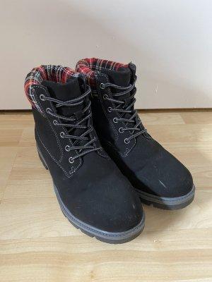 Graceland Combat Boots black-red