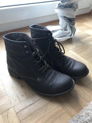 Tamaris Bottes à lacets taupe-brun noir