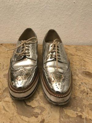 Zara Woman Veterschoenen zilver-goud Leer