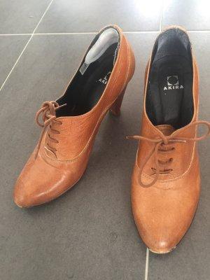 Schnürschuhe Schuhe Cognac Braun Schnürer Absatz High Heel 39