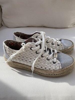 Café Noir Sneakers met veters wit-lichtgrijs