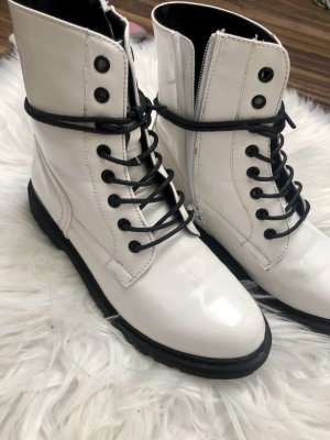 About You Botas con cordones blanco-negro