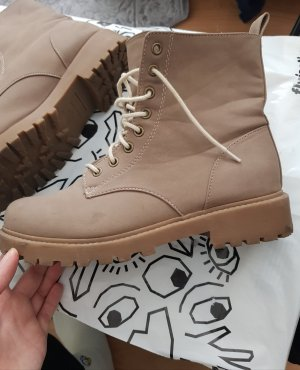 H&M Lace-up Booties grey brown-light brown