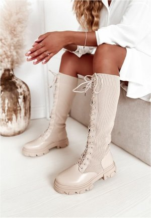 stylelistic Lace-up Boots oatmeal-beige leather