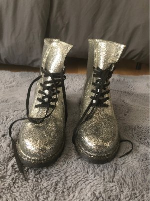 Stivale stringato argento-nero