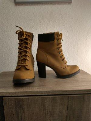 Lace-up Boots black-apricot