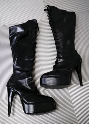 Gothic Boots black imitation leather