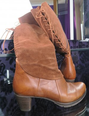Vabeene Aanrijg laarzen cognac-bruin Leer