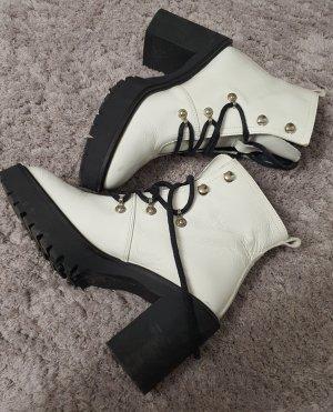 Topshop Bottes à lacets blanc-noir