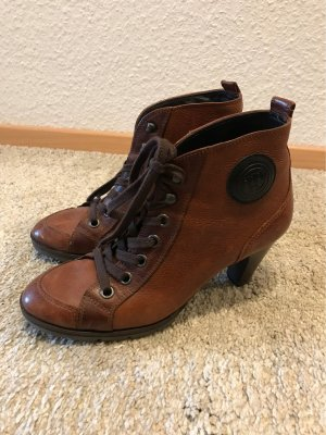 Paul Green Lace-up Booties cognac-coloured leather