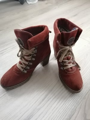 Tamaris Lace-up Booties oatmeal-russet suede