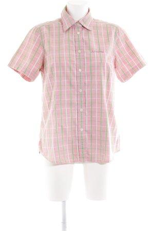 Schöffel Blusa de manga corta rosa-verde hierba estampado a cuadros look casual