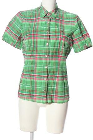 Schöffel Kurzarmhemd grün-pink Karomuster Casual-Look