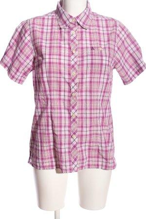 Schöffel Camisa de manga corta blanco puro-rosa estampado a cuadros look casual