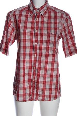 Schöffel Kurzarmhemd weiß-rot Karomuster Casual-Look