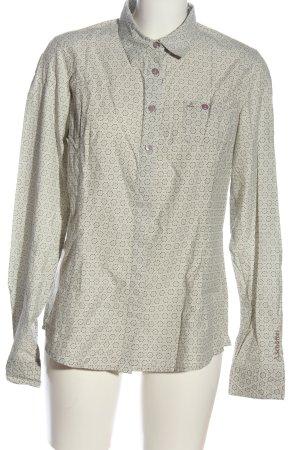 Schöffel Langarmhemd weiß-braun Allover-Druck Casual-Look
