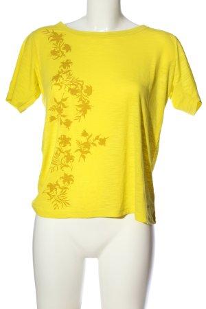 Schöffel T-Shirt blassgelb-braun Blumenmuster Casual-Look