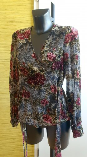 Zara Woman Kopertowa bluzka Wielokolorowy