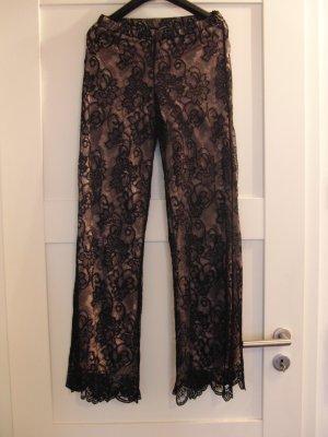Schöne ausgefallene Hose von Conleys Black aus Spitze - Gr. 36 - schwarz-rose - WIE NEU (NUR 1x GETRAGEN)