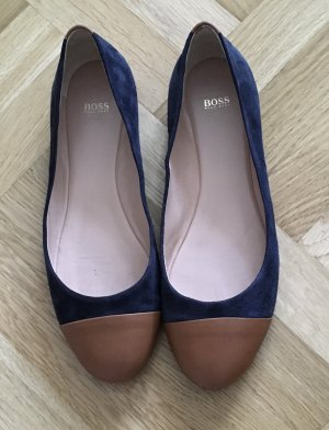 Hugo Boss Peep Toe Ballerinas dark blue-light brown