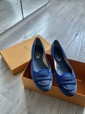 Tod's Mary Jane Ballerinas cornflower blue-steel blue