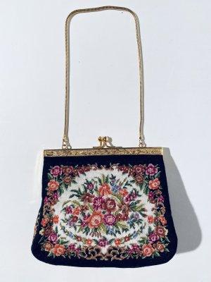 Schöne bestickte Vintage-Abendtasche mit Gobelin-Stickerei - Blumen