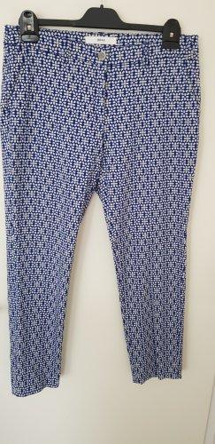 Brax Spodnie 7/8 biały-stalowy niebieski Bawełna