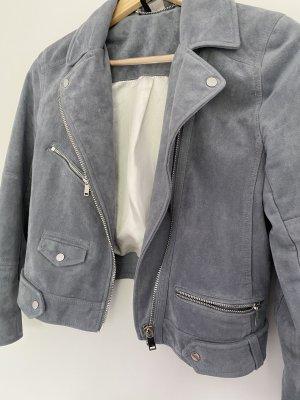 H&M Kurtka z imitacji skóry szary niebieski
