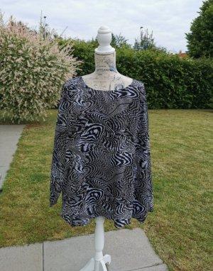 Blue Motion Blouse met lange mouwen wit-zwart Polyester