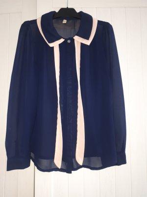 Davantino (per blusa) rosa pallido-blu scuro