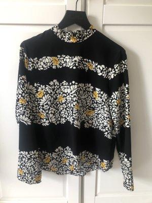 Zara Stand-Up Collar Blouse black-yellow
