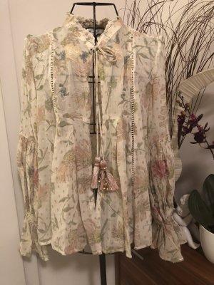 Schöne Bluse mit Stickereien von Zara/Gr.XS