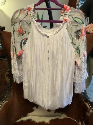 Schöne Bluse mit transparenten Ärmeln Gr. M/L