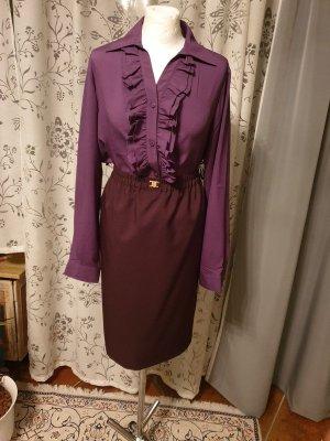 schöne Bluse mit Volants, Langarm, lila, Gr. 40 (L) basic casual