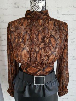 Schöne Bluse Top animalprint Zara Gr.S bronzefarben